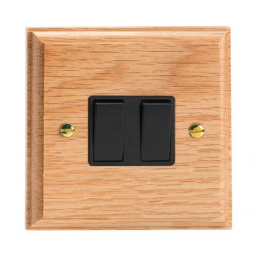 Varilight XK2OB Kilnwood Oak 2 Gang 10A 1 or 2 Way Rocker Light Switch